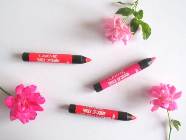 lakme enrich lip crayon berry red, lakme enrich lip crayon red stop, lakme enrich lip crayon pink burst