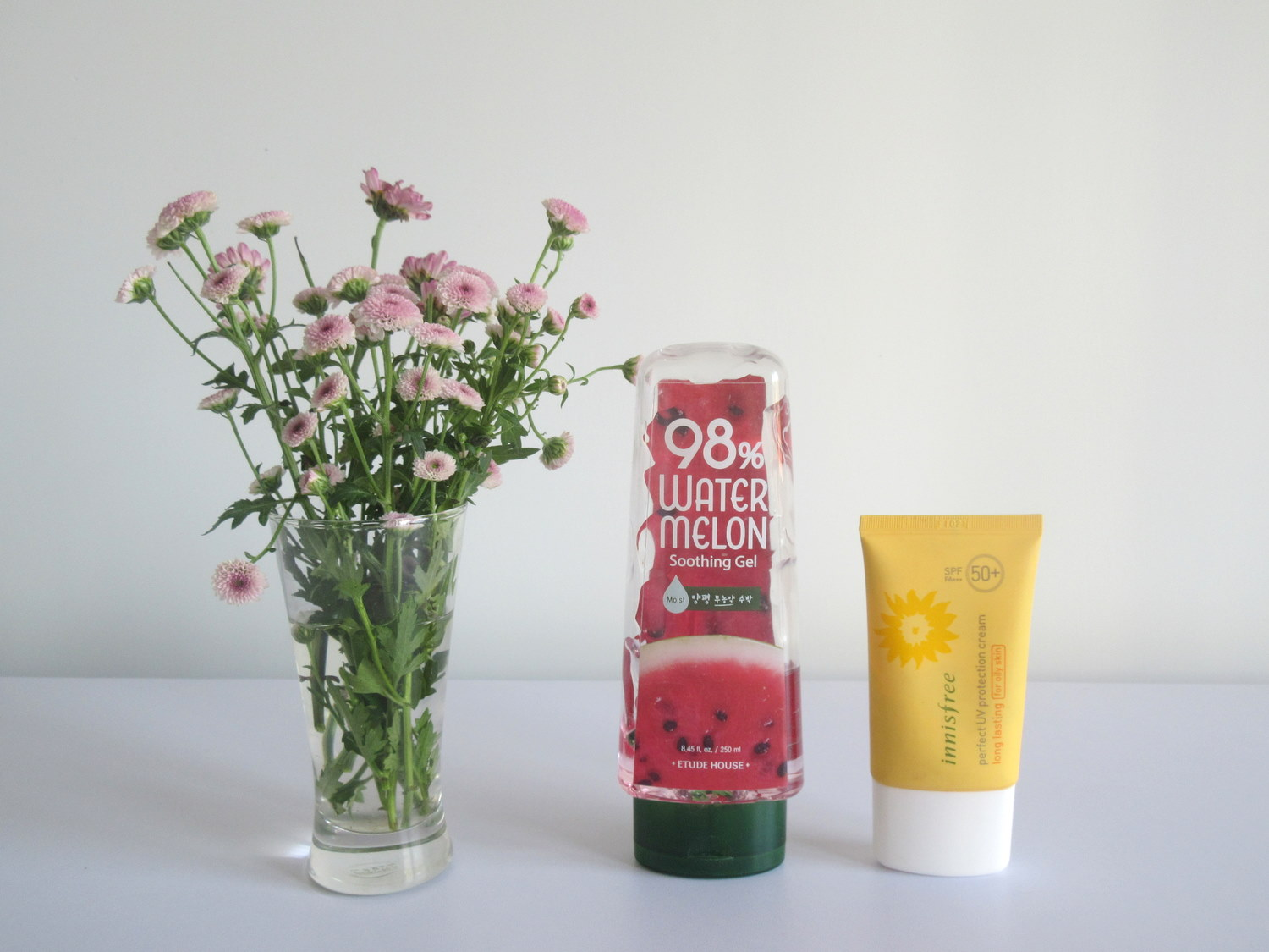 Etude House 98% Watermelon Soothing Gel, Innisfree Perfect UV Protection Cream For Oily Skin