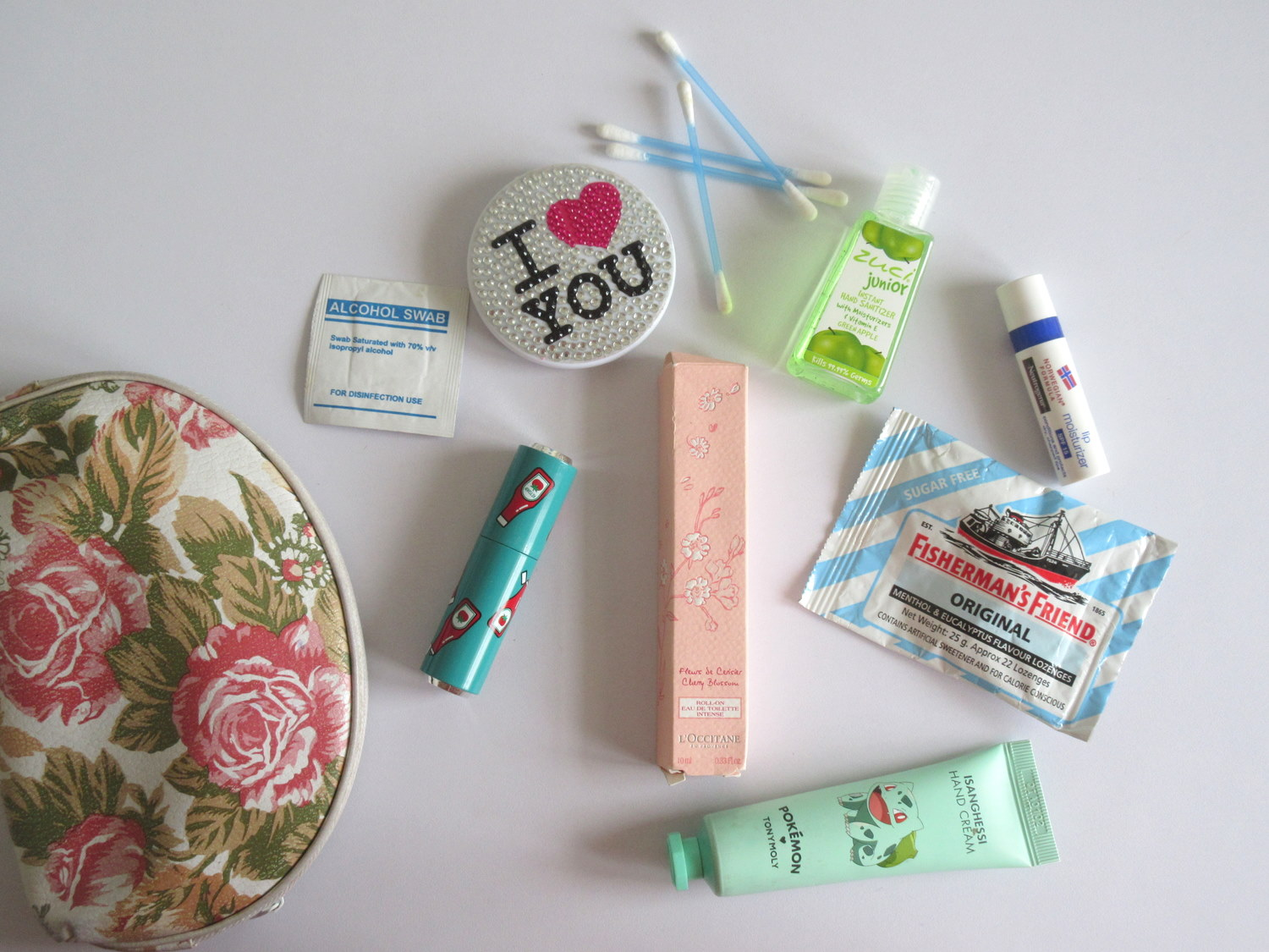 LOccitane Cherry Blossom Roll On Eau De Toilette Intense, fisherman's friend, Zuci Junior Green Apple Hand Sanitizer, Etude House Dear My Glass Tinting Lips Talk rd302 swag red
