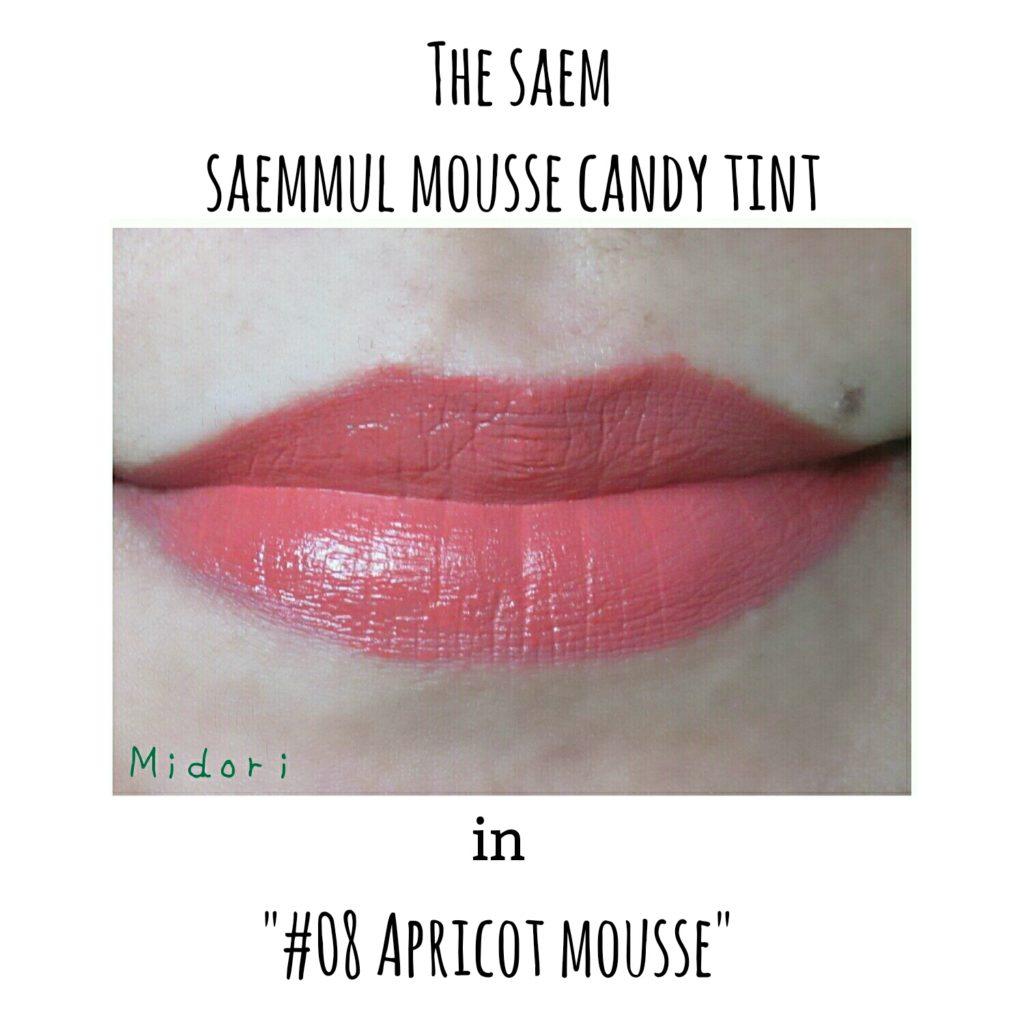 the saem saemmul mousse candy tint, the saem saemmul mousse candy tint 08 apricot mousse, the saem saemmul mousse candy tint 06 chai tea mousse