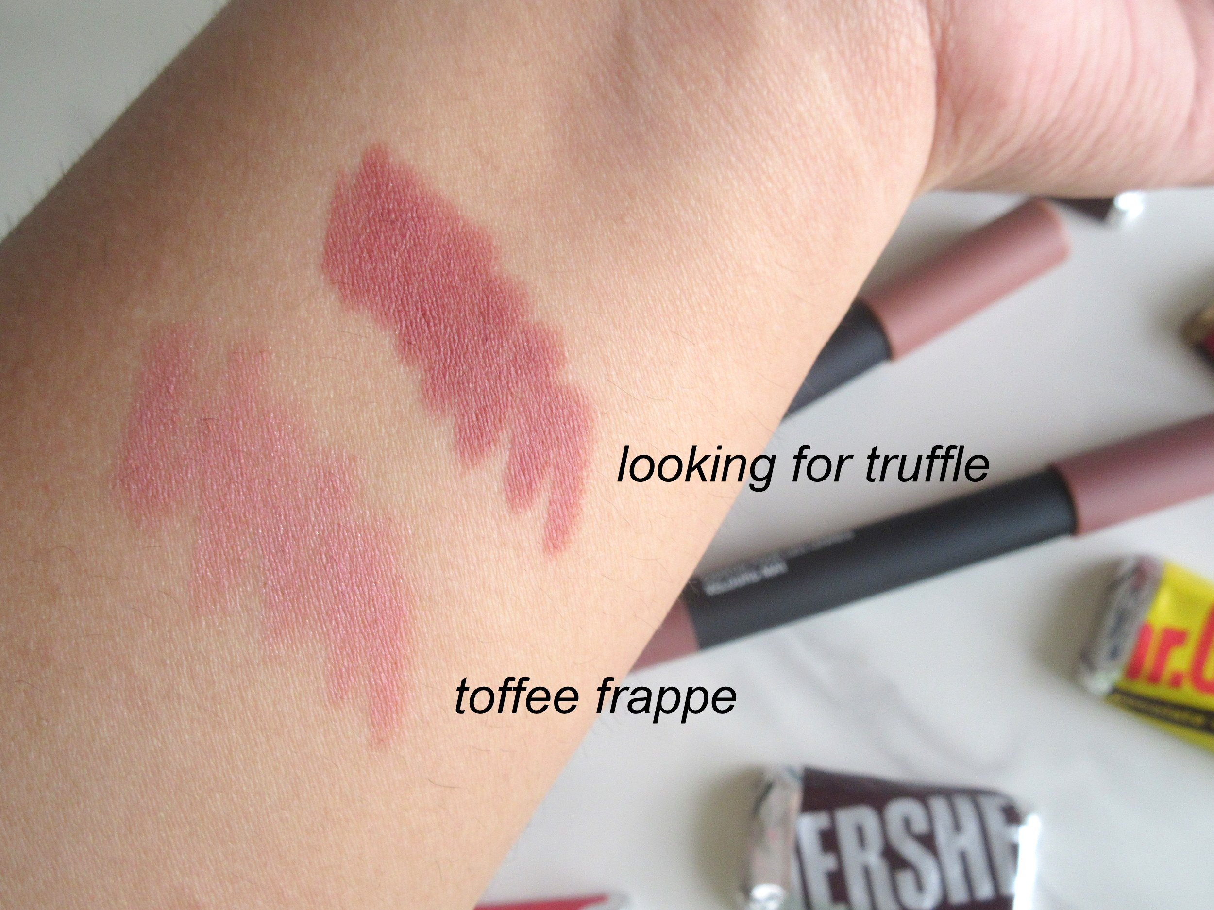 wet n wild velvet matte lip color, wet n wild lip crayon, wet n wild looking for truffle, wet n wild toffee frappe