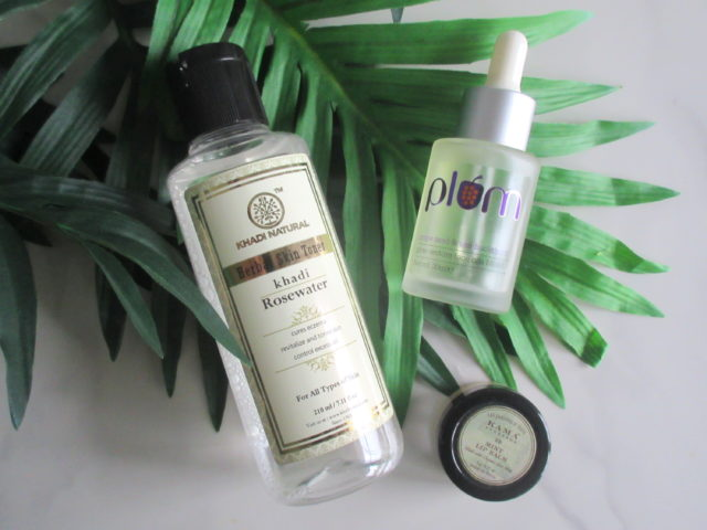 Khadi Natural Herbal Skin Toner Rose Water, Plum Grape Seed & Sea Buckthorn Glow Restore Face Oils Blend, Kama Ayurveda Mint Lip Balm
