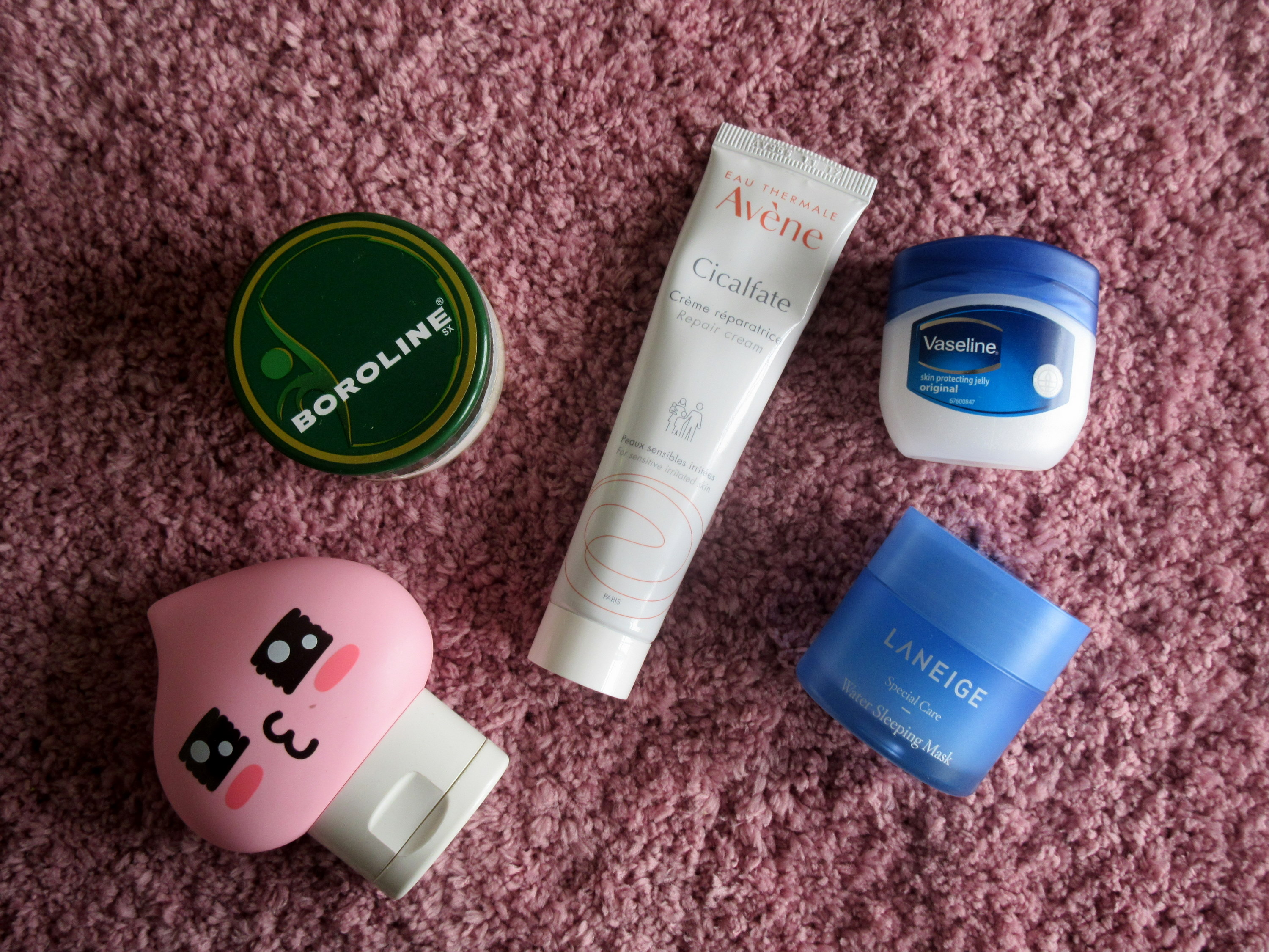 avene cicalfate repair cream, laneige water sleeping mask, boroline, vaseline