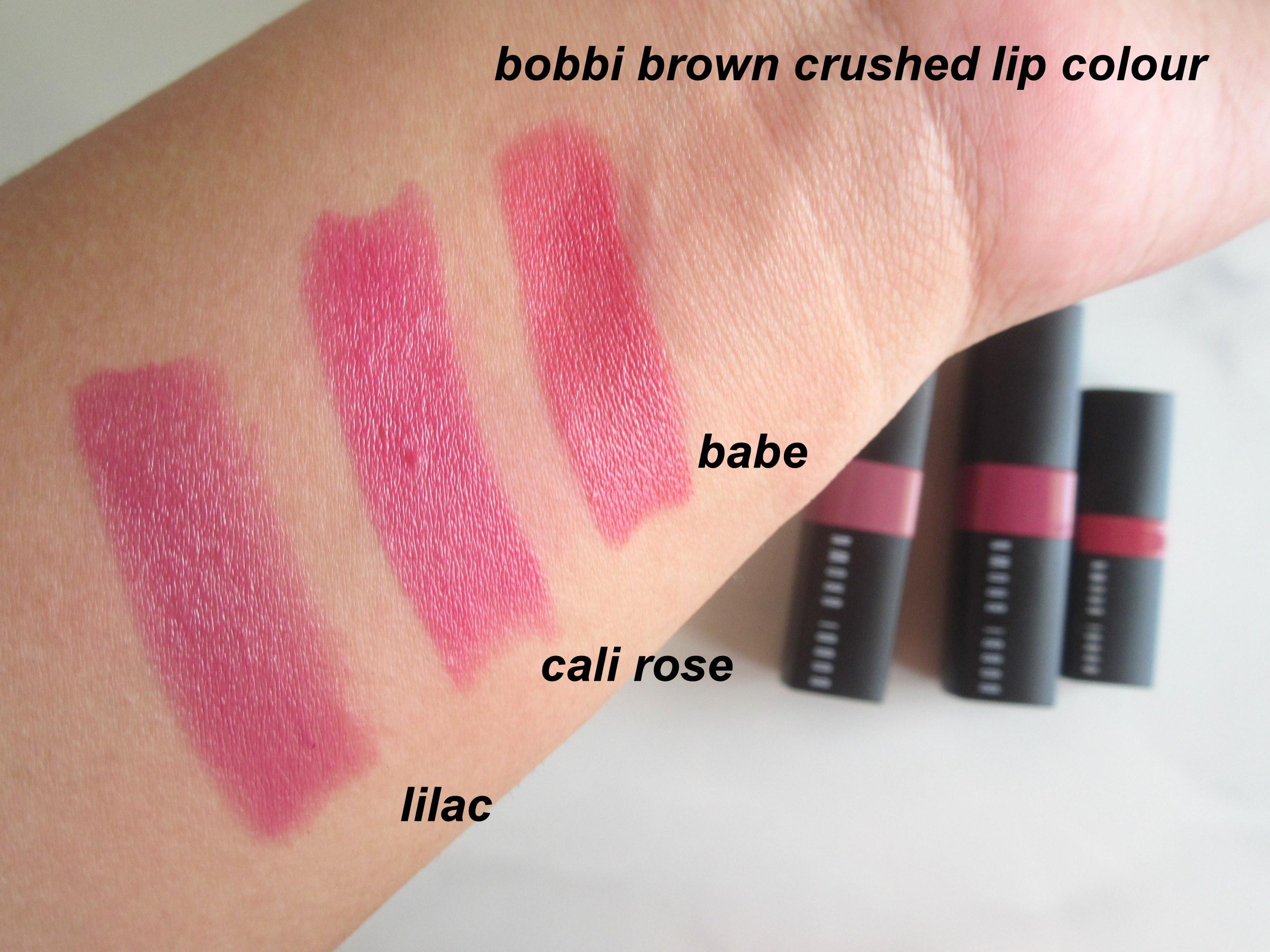 bobbi brown crushed lip color, bobbi brown crushed lip color lilac, bobbi brown crushed lip color babe, bobbi brown crushed lip color cali rose