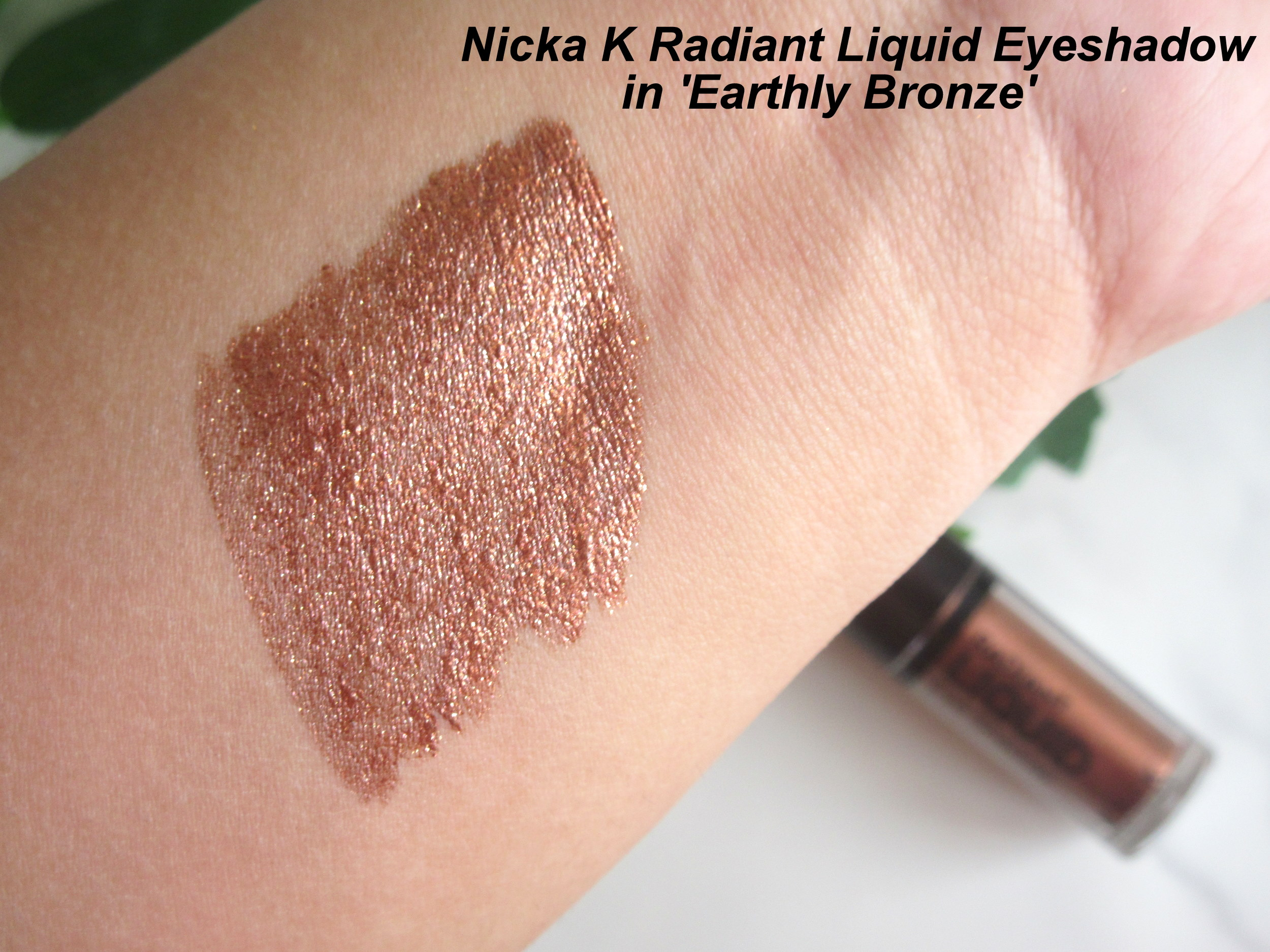 nicka k liquid eyeshadow earthly bronze,